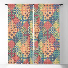 Leiden vintage cheater quilt colorful geometric design Blackout Curtain