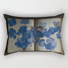 hydrangea and book Rectangular Pillow