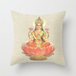 Lakshmi, Goddess of Love (Coral) Throw Pillow