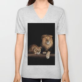 Cute lion and lioness - happy big cat family lie on the wooden log. Beautiful animals photo on dark background Unisex V-Neck