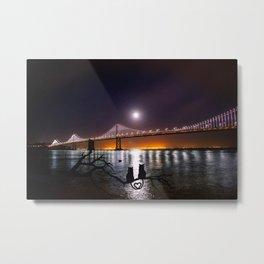 Oakland Bay Bridge with Cats in Love (San Francisco) Metal Print