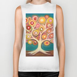 Tree of life with colorful abstract circles Biker Tank