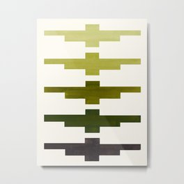 Mid Century Minimalist Ancient Aztec Inca Geometric Pattern Watercolor Olive Green Colorful Gouache Metal Print