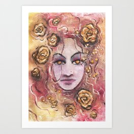 Ajleen floating in Gold Art Print