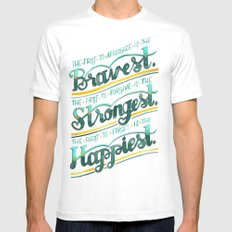Bravest, Strongest, Happiest White Mens Fitted Tee MEDIUM