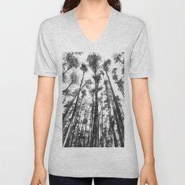 landscape photography  - forest,  black and white trees Unisex V-Neck