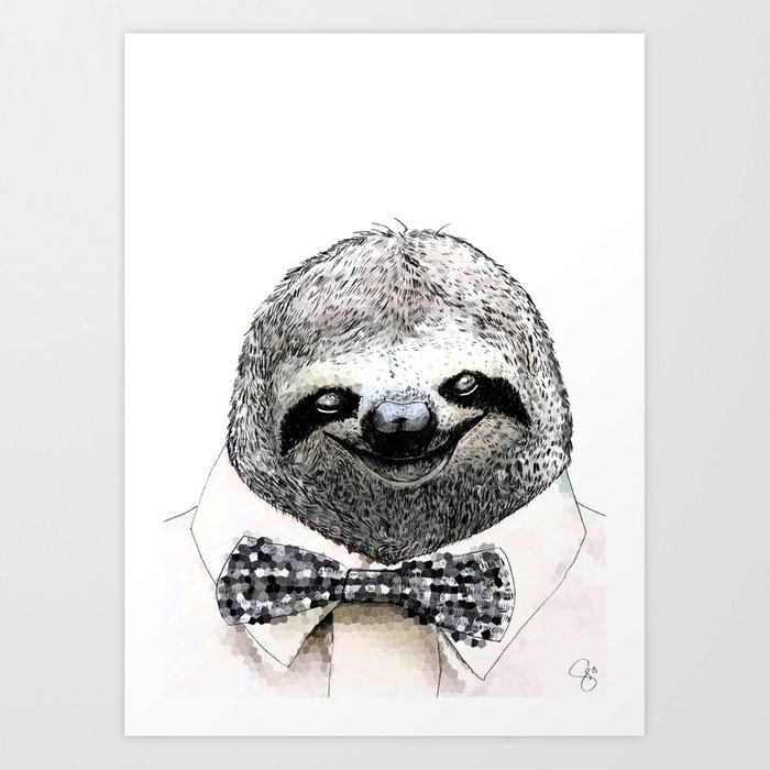 Sloth in a bow tie art print by samschrey society6 sloth in a bow tie art print voltagebd Choice Image