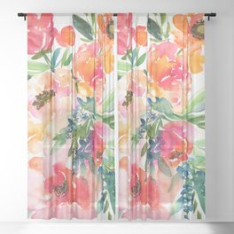 bouquet of huge peonies Sheer Curtain
