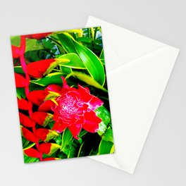 Flowers 113. Floral. Red. Green Leaves Stationery Cards