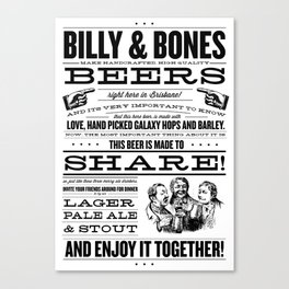 Billy & Bones Hand Crafted Beer Canvas Print