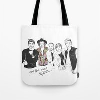 one direction Tote Bags featuring One Direction by Stephanie Recking