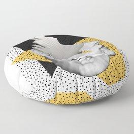 collage art / Faces Floor Pillow