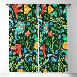 Asian-Inspired Colorful and Elegant Floral Pattern Blackout Curtain