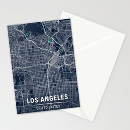 Los Angeles Blue Dark Color City Map Stationery Cards
