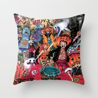 one piece Throw Pillows featuring Halloween in One Piece by Borsalino