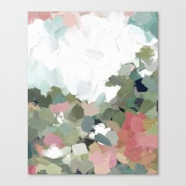 Green Mint Pink Blush Abstract Nature Art Painting Canvas Print
