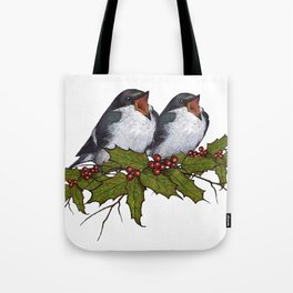Christmas Illustration: Singing Birds With Holly Leaves, Twigs Tote Bag
