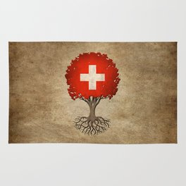 Vintage Tree of Life with Flag of Switzerland Rug