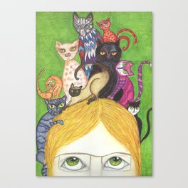 Cats on the brain Canvas Print