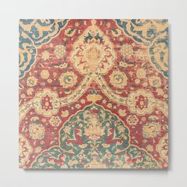 Peonies Kashan I // 16th Century Distressed Colorful Red Tan Light Blue Ornate Accent Rug Pattern Metal Print