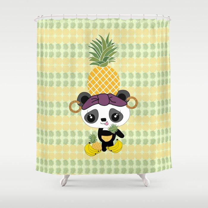 Carmen Miranda Kawaii Panda With Pineapple Shower Curtain