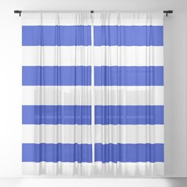 Cobalt Blue and White Wide Cabana Tent Stripe Sheer Curtain