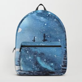 """""""Adventure Awaits"""" watercolor galaxy landscape illustration Backpack"""