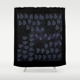 Blue circle on black Shower Curtain