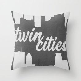 Twin Cities Minneapolis Saint Paul Minnesota Black and White Throw Pillow