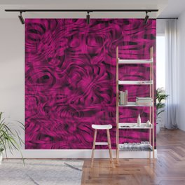 Chaotic spots and scribbles in pink colors on a dark. Wall Mural
