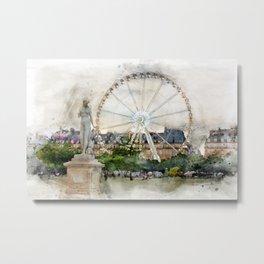 Ferris Wheel in the Tuileries Gardens watercolor Metal Print