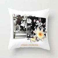 inner demons Throw Pillows featuring Inner Demons by B.SANTIAGO