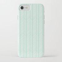 herringbone iPhone & iPod Cases featuring Herringbone Mint by Project M