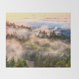 Coastal Fog Over Mount Tamalpais Throw Blanket
