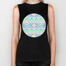 Aztec Geometric Print - Pastel bright colours Biker Tank