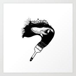 Inktober whale Art Print