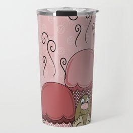 Cute Monster With Red Frosted Cupcakes Travel Mug