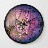 fairy tale Wall Clocks featuring Fairy Tale by Katie Badenhorst