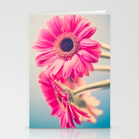 Acid Tongue, Pink Flower on Blue  Stationery Cards