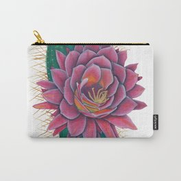 Crowned Cactus with Pink Flower Blossom Carry-All Pouch