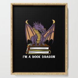 I Am A Book Dragon Not A Worm Reading Serving Tray