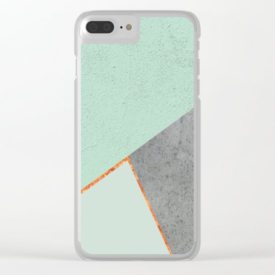 MINT COPPER GRAY GEOMETRIC PATTERN Clear iPhone Case