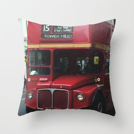 Red bus and a candy store - London Throw Pillow