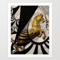 the golden horse with fractal background Art Print