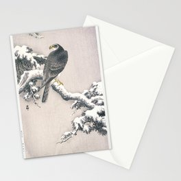 Goshawk on Snow-covered Pine Bough by Ohara Koson (1877-1945) Stationery Cards