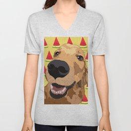 Golden Retriever Dog-Watermelon Unisex V-Neck