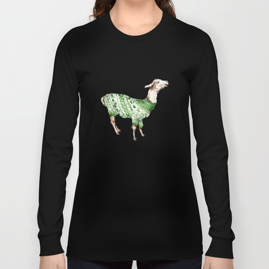 Llama in a Green Deer Sweater Long Sleeve T-shirt