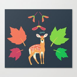 White-tailed Deer + Red Maple Canvas Print