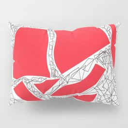 Red collage doodle Pillow Sham