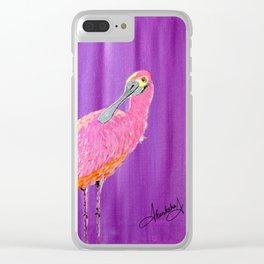 Spoonbill bird Clear iPhone Case